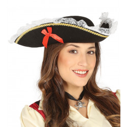 Sombrero pirata para mujer con puntillas y lazos