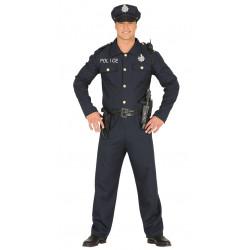 Disfraz de policía lujo para adulto. Uniforme policial para hombre