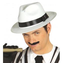 Sombrero gangster blanco con cinta negra. Sombrero fedora