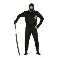Disfraz de ninja negro adulto. Disfraz de guerrero oriental para adulto