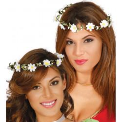 Corona de flores con perlas