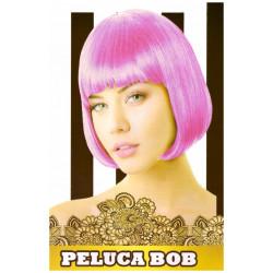 Peluca Lisa Corta Bob Fucsia para Carnavales y Despedida de Solteros