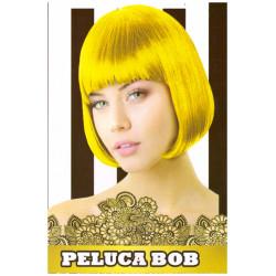 Peluca Lisa Corta Bob Amarillo Fluorescente para Carnavales y Despedida de Solteros