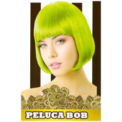 Peluca Lisa Corta Bob Verde Fluorescente para Carnavales y Despedidas de Soltero
