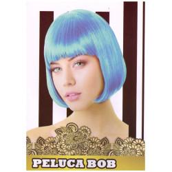 Peluca Corta Lisa Bob Azul Celeste para Carnavales y Despedidas de Soltero