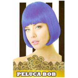 Peluca Lisa Corta Bob Azul para Carnavales y Despedida de Soltero