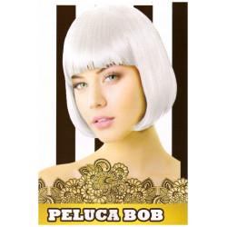 Peluca Corta Lisa Bob Blanca para Carnavales y Despedidas de Soltero