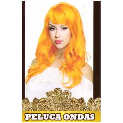 Peluca de Ondas Naranja Larga para Carnavales y despedidas de Soltero