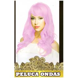 Peluca de Ondas Rosa Larga para Carnavales y despedidas de Soltero