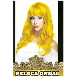 Peluca de Ondas Amarillo Larga para Carnavales y despedidas de Soltero