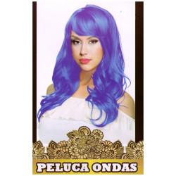 Peluca de Ondas Azul Larga para Carnavales y despedidas de Soltero