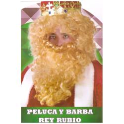 Peluca y barba rey, rubio