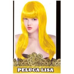 Peluca Lisa Larga Amarilla Fluorescente para Carnavales y Despedidas de Soltero
