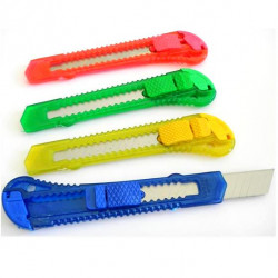 Pack de 4 Cutters Escolares, colores surtidos