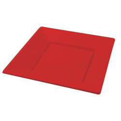 Plato Llano Cuadrado Rojo