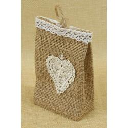 Bolsita de Regalo de tela de lino con Detalle Corazón