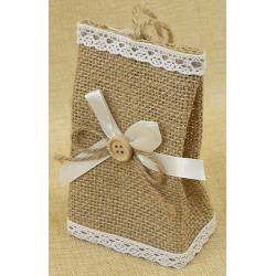 Bolsita de Regalo de tela de lino con Detalle Lazo y botón