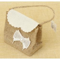 Bolsita de Regalo de tela de lino con Lazo, 7.5*7.5 cm