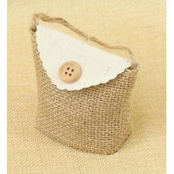 Bolsita de Regalo de tela de lino con Botón, 7.5*7.5 cm