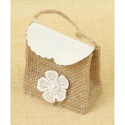 Bolsita de Regalo de tela de lino con Flor de encaje, 7.5*7.5 cm
