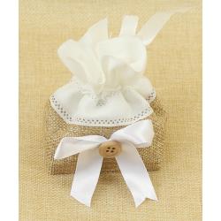 Bolsita de Regalo de tela de lino combinada con cinta blanca