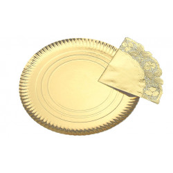 Bandeja Cartón Con Blonda Redonda Oro