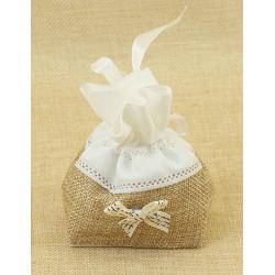 Bolsita de Regalo, tela de lino con lazo de adorno y cinta blanca