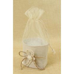 Bolsita de Regalo de tela beige con Flor y Lazo, 4*6 cm