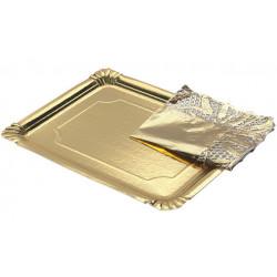 Bandeja Cartón Con Blonda Rectangular Oro