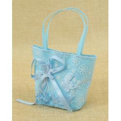 Bolsita de Regalo Azul con adorno Osito y Baby, 4*6 cm
