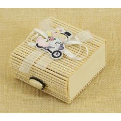 Cajita de Regalos de bambú para bodas, 5*7 cm