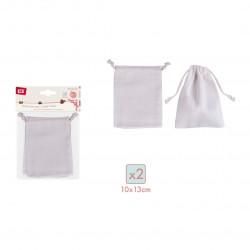 Set de 2 sacos de telas con cierre de cordon
