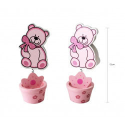 Porta Tarjeta con Osito color Rosa , Bautizo y baby Shower