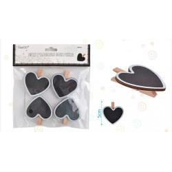 Set de Mini pizarra corazón con pinza, 4 pcs