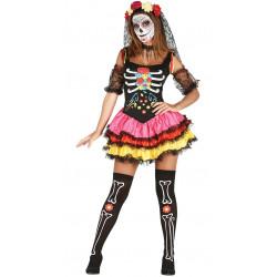 Disfraz Catrina Colorines Mejicana Adulta