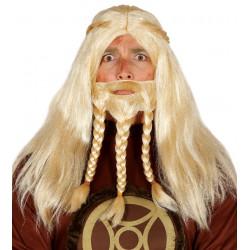 Peluca de Vikingo Rubio con Barba