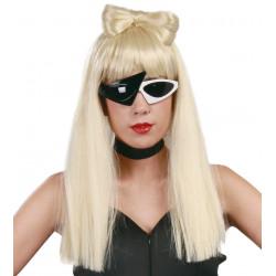 Peluca Lady Pop Rubia con Lazo. Peluca Lady Gaga