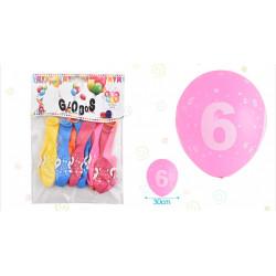 Set de globos Número 6, 8 pcs