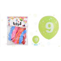 Set de globos Número 9, 8 pcs