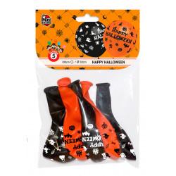 Globos Happy Halloween 5 Unidades. Globos Negros y Naranja