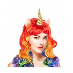Peluca de Unicornio Arcoíris