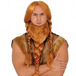 Peluca y Barba con Trenzas de Vikingo