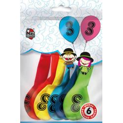 Globos Número 3 de Colorines. Globos para Cumpleaños, 6 unidades.