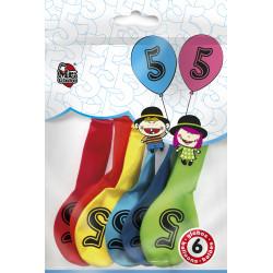 Globos Número 5 de Colorines. Globos para cumpleaños, 6 unidades