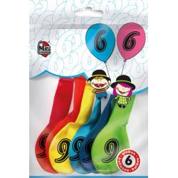 Globos Número 6 de Colorines. Globos de Cumpleaños, 6 unidades.