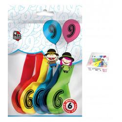 Globos Número 9 de Colorines. Globos para Cumpleaños, 6 unidades.