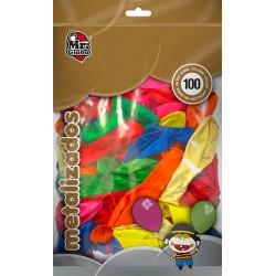 Globos Metálicos 100 Unidades. Globos para Cumpleaños, Colores Surtidos
