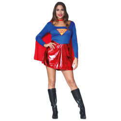 Disfraz de superheroína con capa adulta. Disfraz de superman para mujer