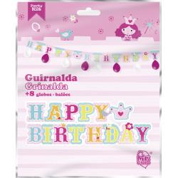 Guirnalda Rosa 'Happy Birthday' de Princesa. Guirnalda de cumpleaños