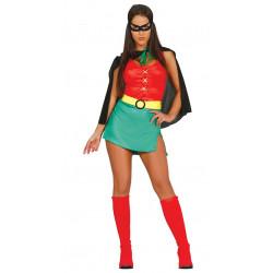Disfraz de Heroína Sidekick Adulta. Disfraz de Robin para chica